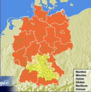 Deutschland rot-gelb dominiert