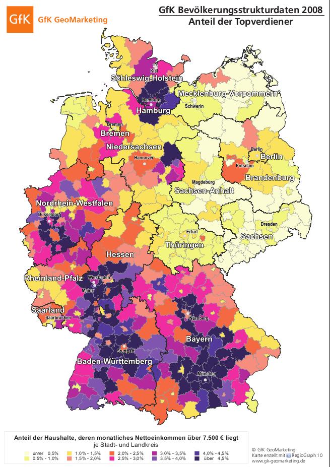 GfK Bevölkerungsstrurkturdaten 2008 Verteilung der Topverdiener