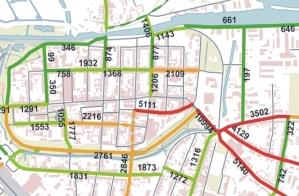 Ausschnitt aus Fahrrad-Verkehrszählung in Greifswald
