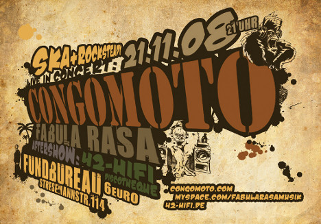 Flyer zum Congomoto Konzert am 21.11.2008