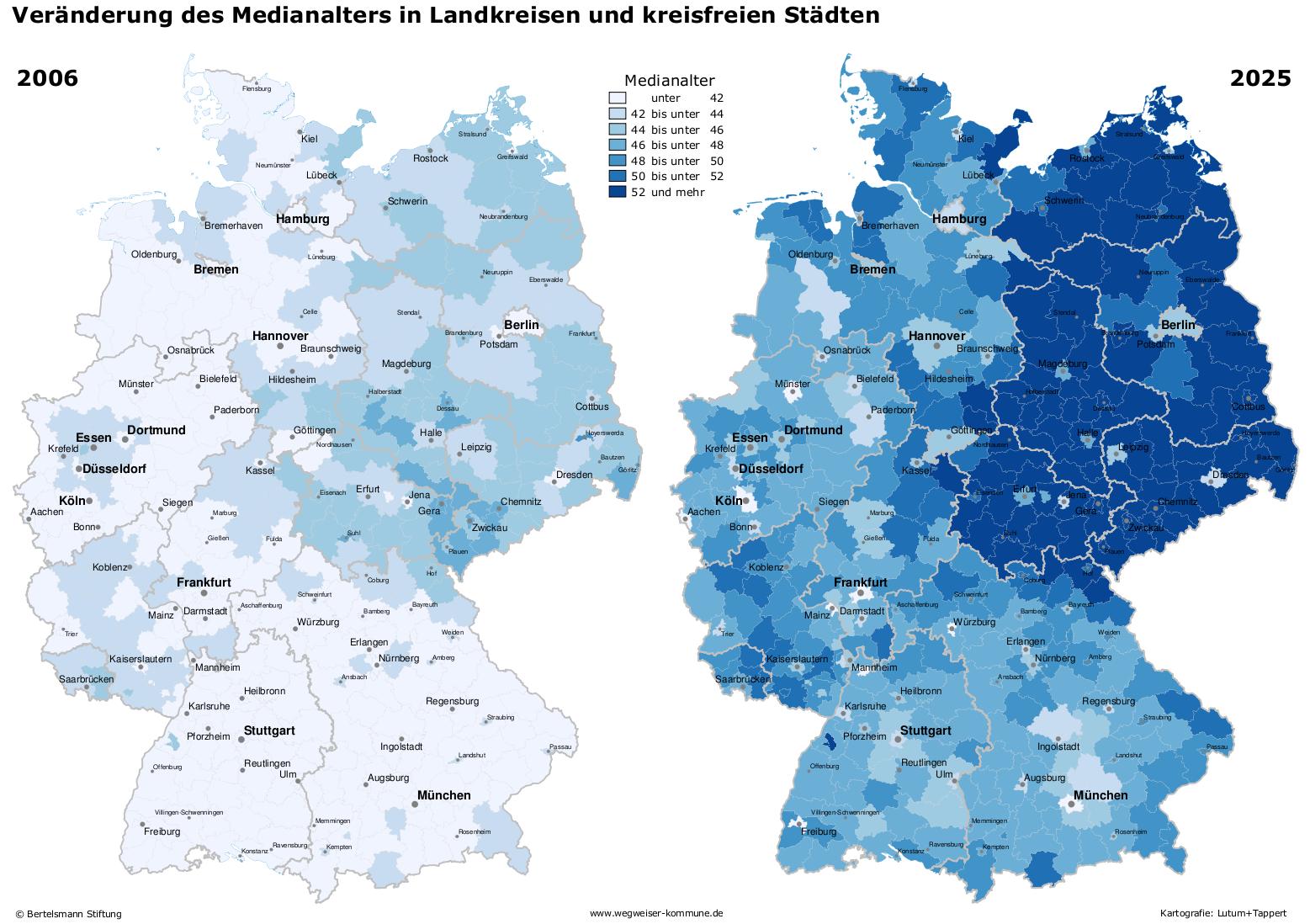 Veränderung des Medianalters in Deutschland 2006 bis 2025. Quelle: Bertelsmann Stiftung