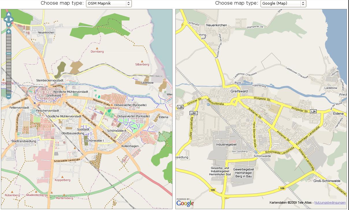 Vergleich OpenStreetMap mit Google Maps