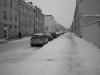 verschneite Straße in Greifswald