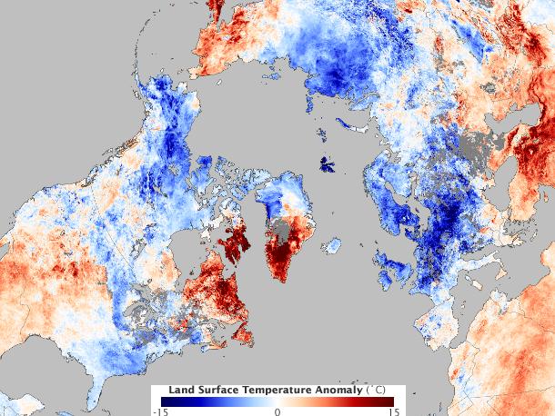 Temperaturanomalie im Dezember 2010 auf der Nordhalbkugel