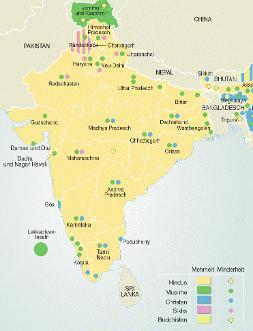 Aktuelle Le Monde diplomatique Karte: Religionszugehörigkeit in Indien