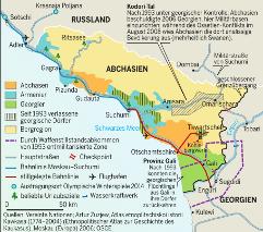 Aktuelle Le Monde diplomatique Karte: Südossetien & Abchasien