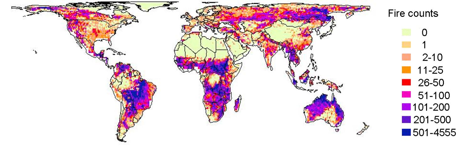 Pyrogeographie: Karte mit Brandrisiko der Zukunft