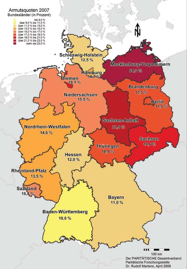 Regionale Disparitäten: Armutsverteilung 2007