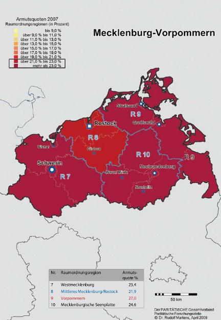 Armutsquote in Mecklenburg-Vorpommern (Stand 2007)