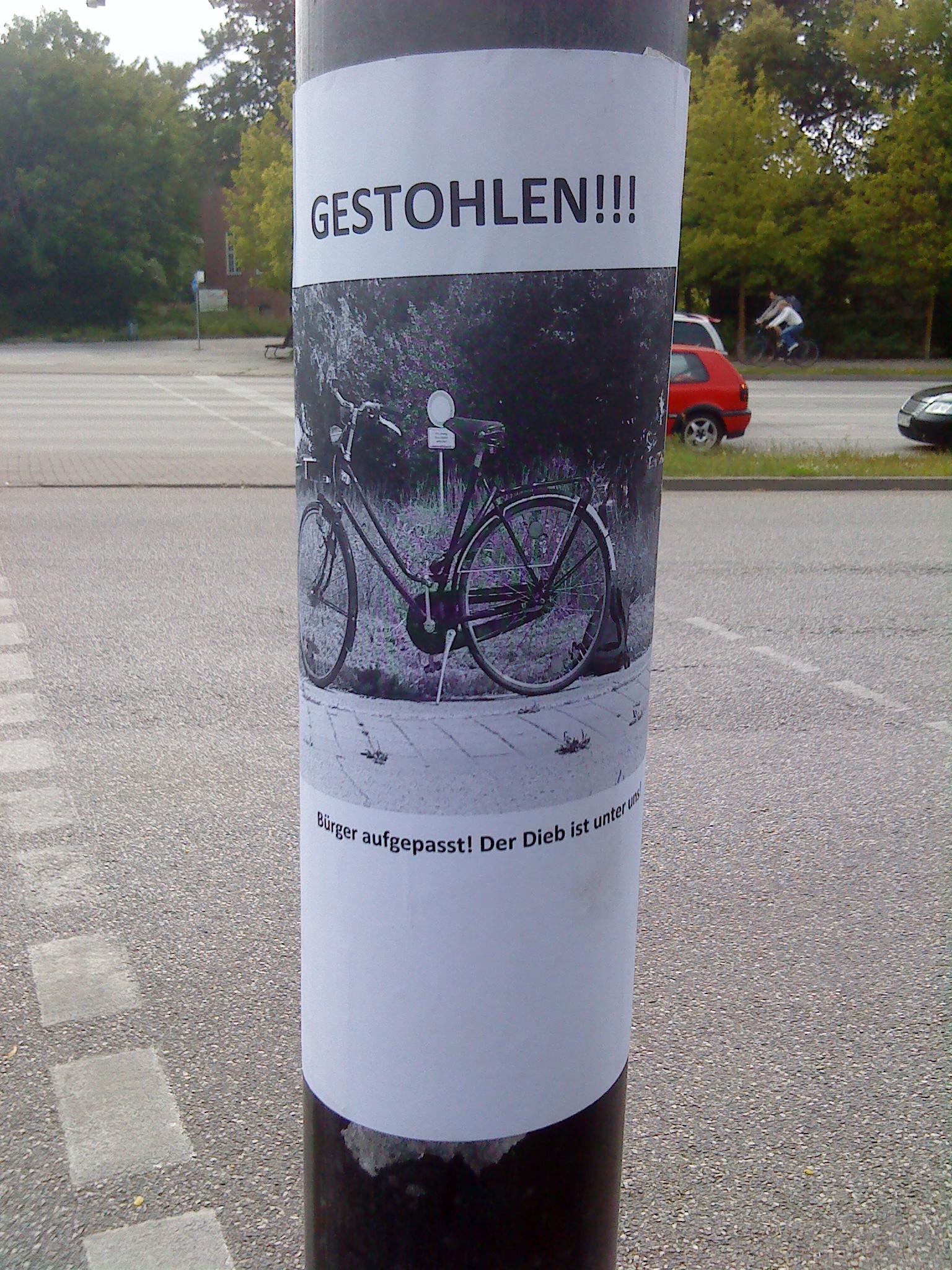 Fahrrad gestohlen!!!