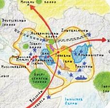 Ausschnitt aus Le Monde diplomatique Karte: Iran