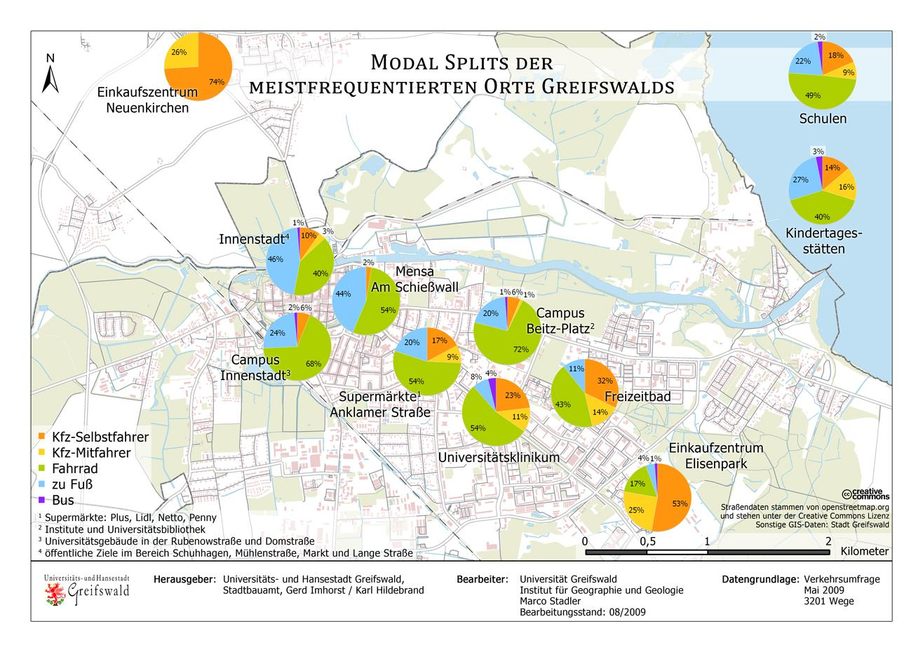 Karte Modal Split in Greifswald