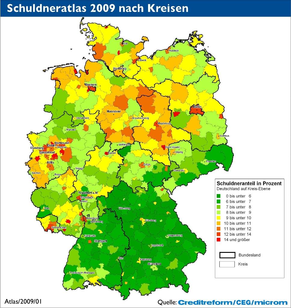 Regionale Disparitäten im SchuldnerAtlas 2009