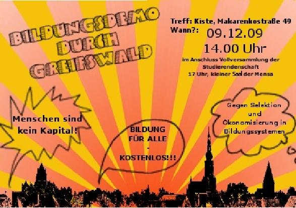 Bildungsdemo Greifswald 09.12.2009