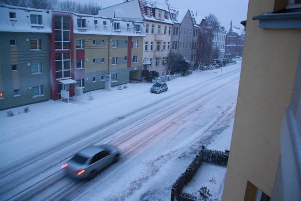Schneesturm Daisy in Greifswald