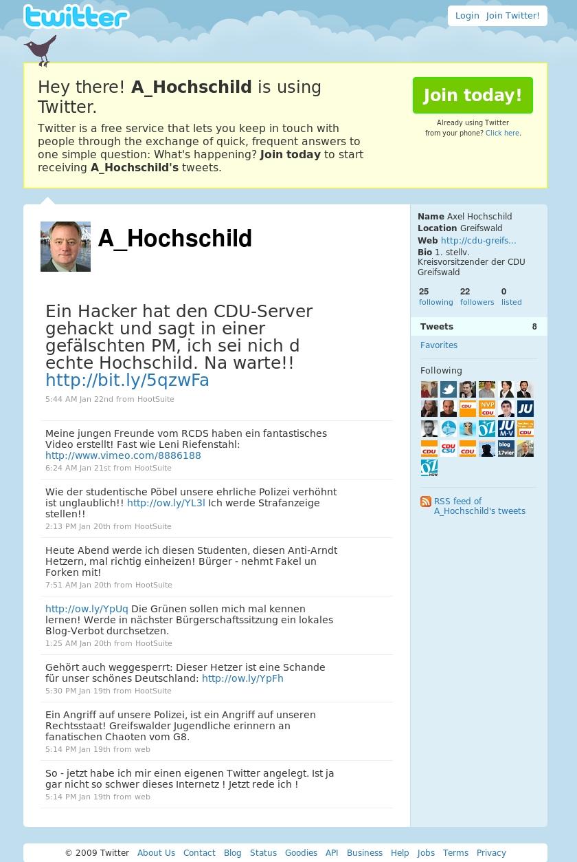Screenshot gefälschter Twitteraccount von Axel Hochschild