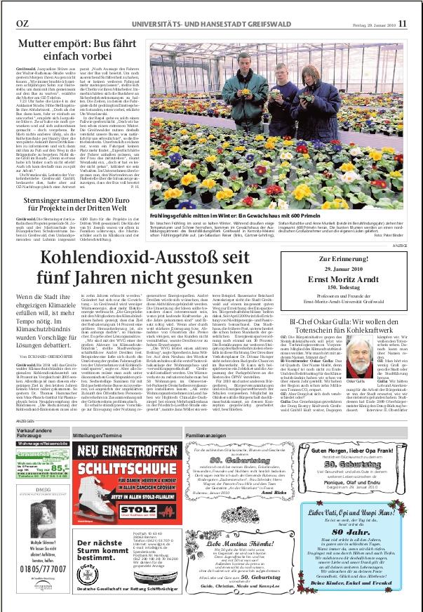 Screenshot Ostsee Zeitung Greifswalder Ausgabe vom 29.01.2010, S.11