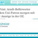 """Die OZ und die """"große"""" Anzeige zu Arndt"""