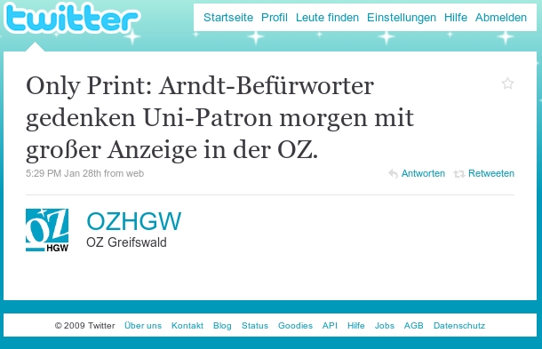 Screenshot OZHGW bei Twitter über Arndt-Anzeige