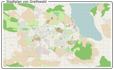 Stadtplan von Greifswald kleine Vorschau