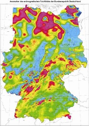 Karte des Magnetfeldes in Deutschland