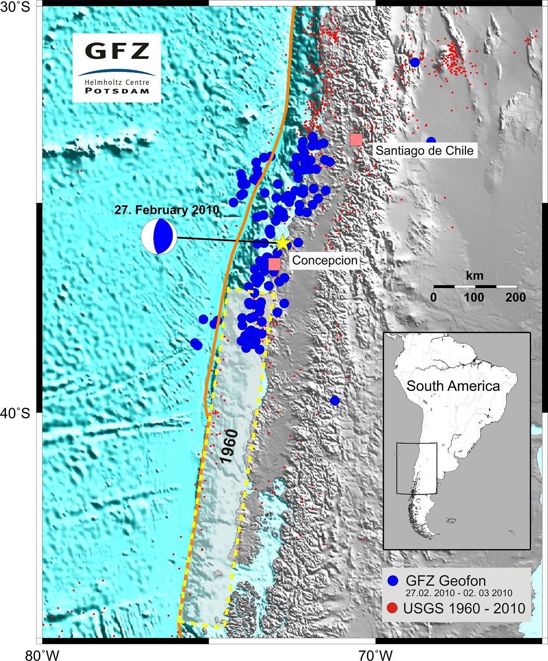 Karte Erdbeben Chile