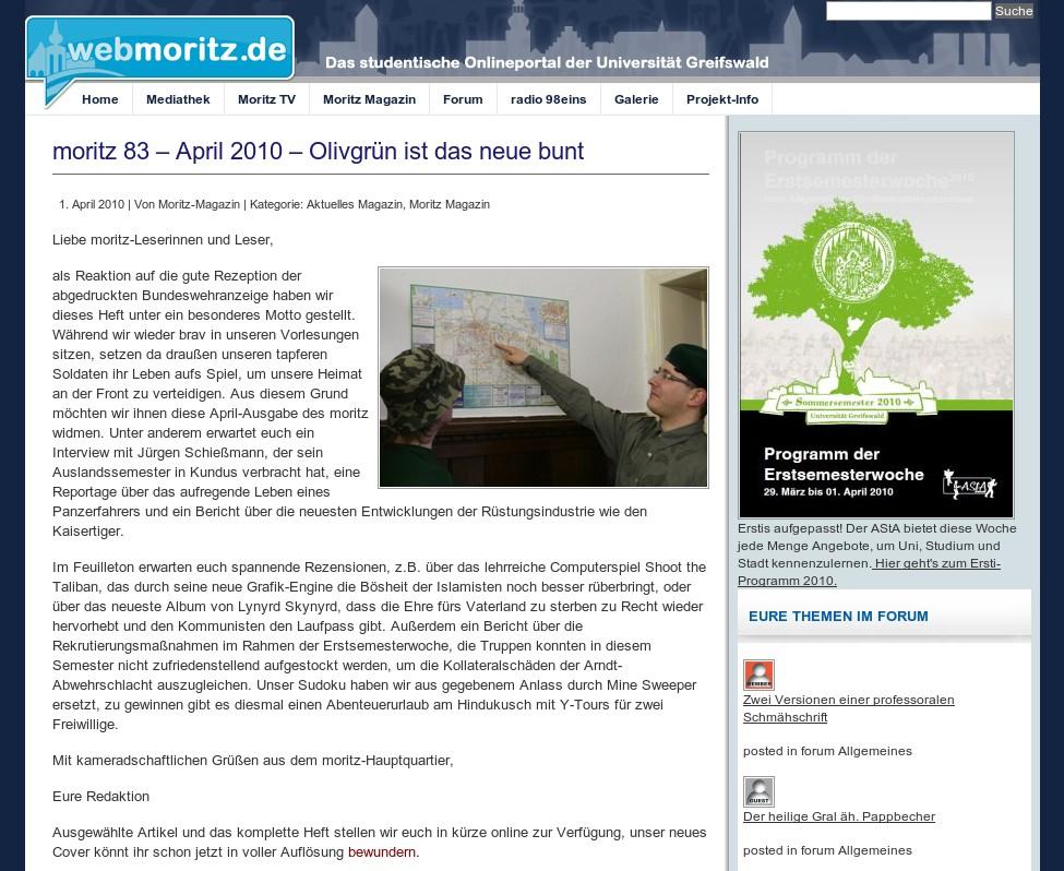 Screenshot WebMoritz / Moritz Magazin Aprilscherz Bundeswehr