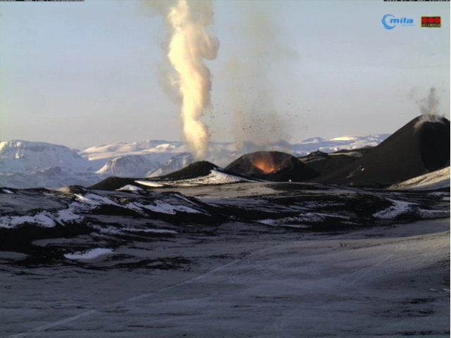 Screenshot Webcam Vulkanausbruch auf Island