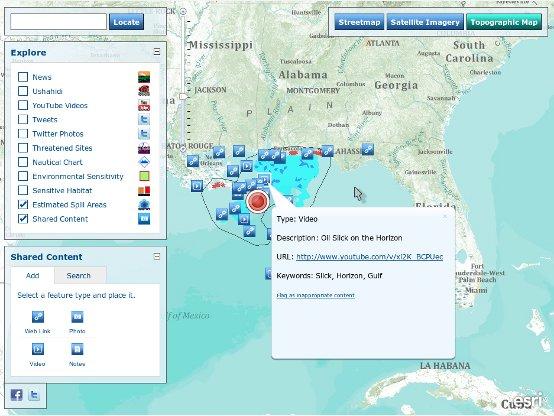 Screenshot ESRI Interactive Social Media Map