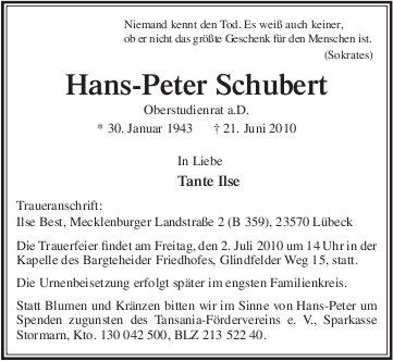 Todesanzeige Hans-Peter Schubert