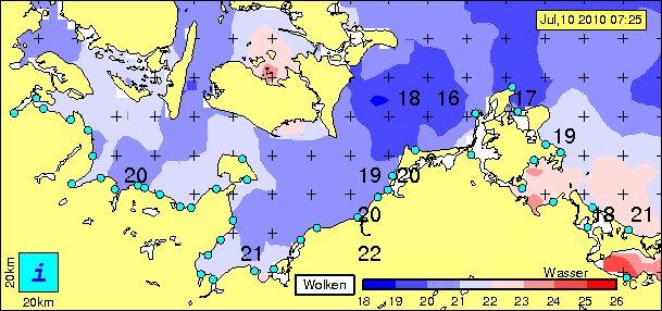 Wassertemperaturen der Ostsee am 10.07.2010