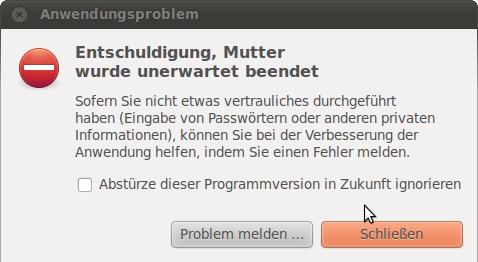 Ubuntu Fehlermeldung: Entschuldigung, Mutter wurde unerwartet beendet