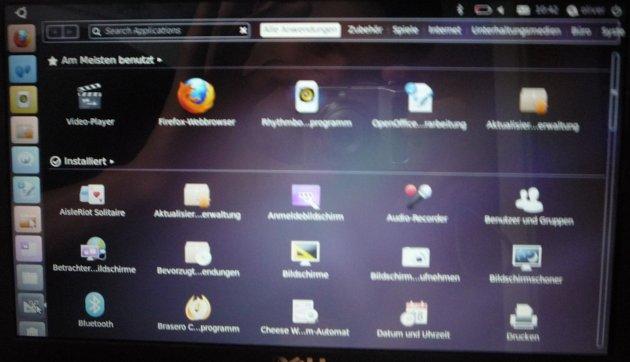 Bildschirmfoto Softwareübersicht Ubuntu Netbook Edition 10.10