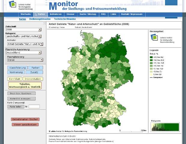 Screenshot: Anteil der Schutzgebiete in Deutschland