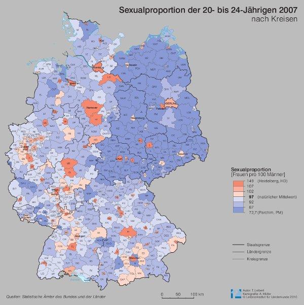 Karte Ostdeutschland.Karte Der Sexualproportion Frauendefizit In Ostdeutschland