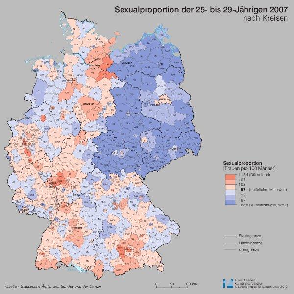 Sexualproportion der 25- bis 29-Jährigen in Deutschland 2007. Quelle: Leibniz-Institut für Länderkunde