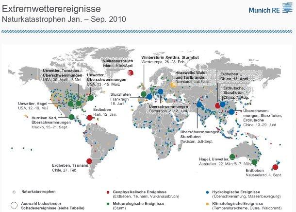 Karte Extremwetterereignisse 2010