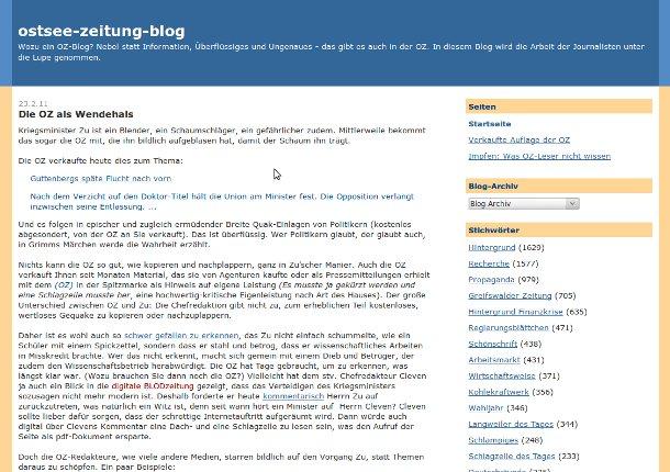 Screenshot Ostsee-Zeitung-Blog