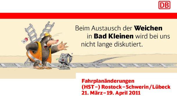 Hinweis der Bahn zur Baustelle in Bad Kleinen