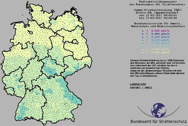 Deutschlandkarte: Radioaktivitätsmessnetz des Bundesamtes für Strahlenschutz