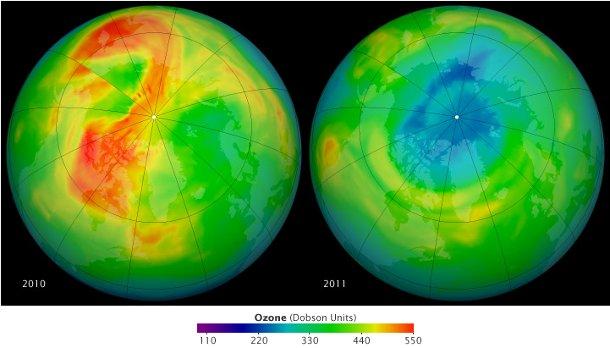 Ozonschwund über der Arktis 2011