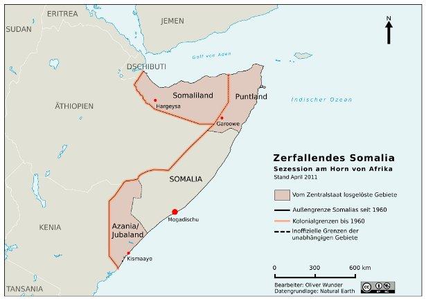 Karte Failed State Somalia