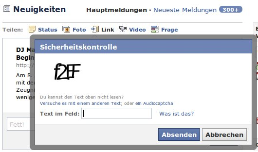 Screenshot Facebook Captcha
