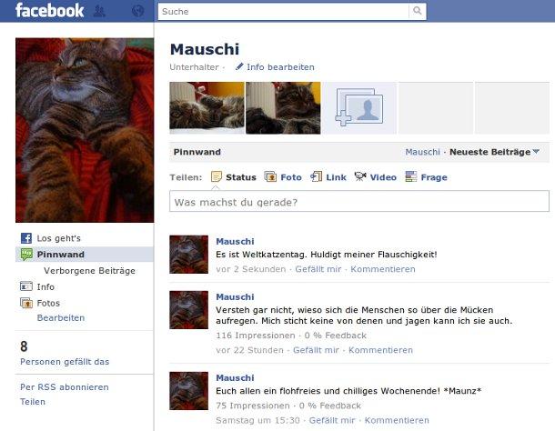 Facebookseite von Mauschi