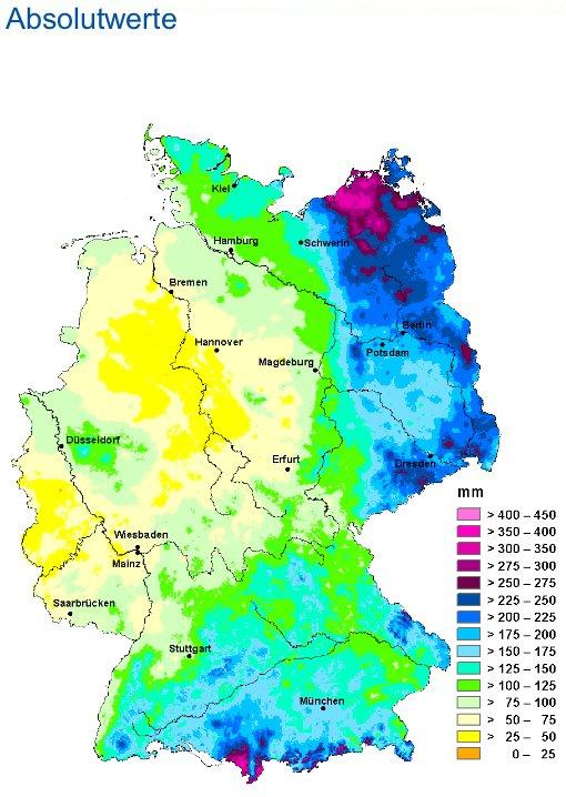 Karte: Niederschlag absolut im Juli 2011