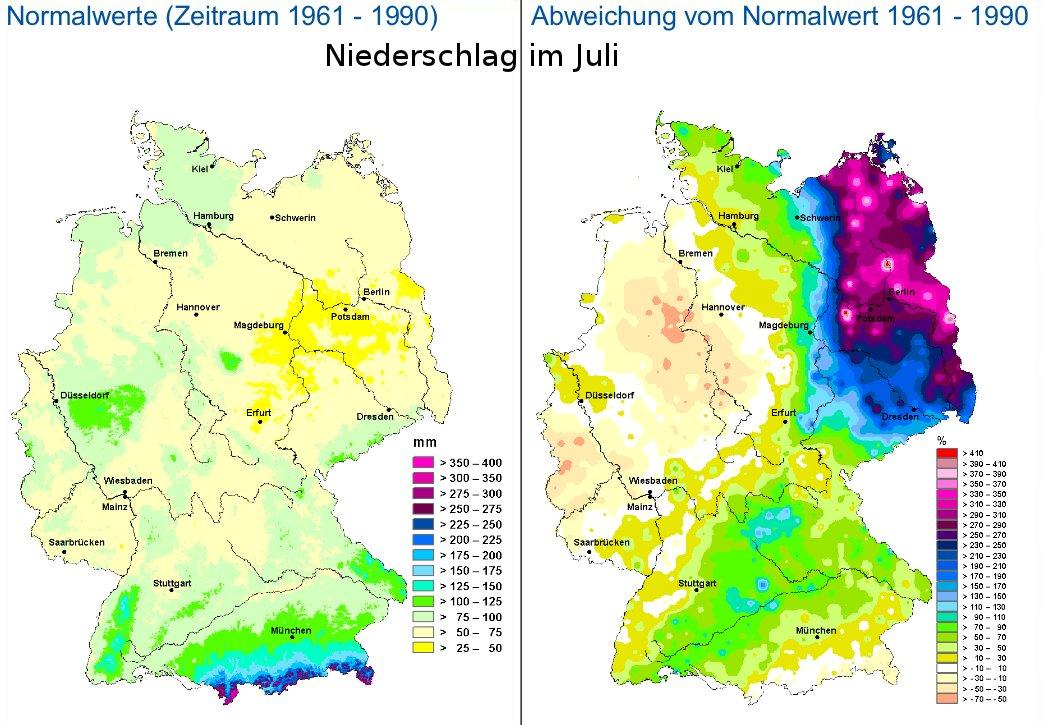 Karte: Niederschlag im Juli 2011 verglichen mit Normalwerten