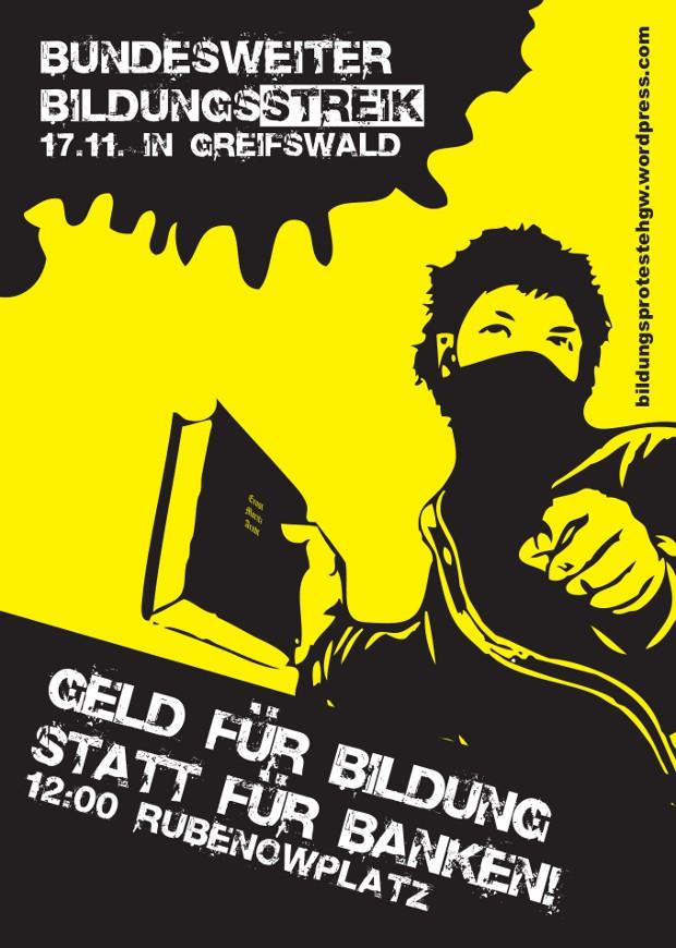 Bildungsstreik 2011 Flyer Greifswald