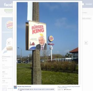 Screenshot der Facebookseite von Burger King Greifswald