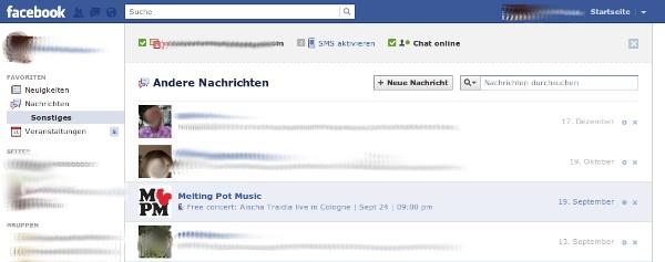 Screenshot: Nachrichtenordner Sonstiges bei Facebook.