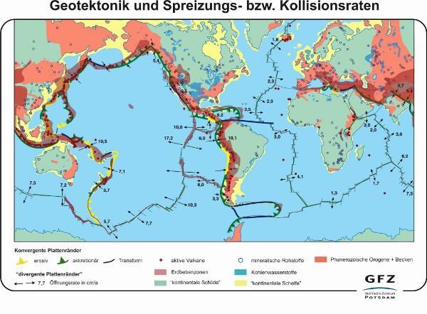 Geotektonik und Spreizungs- bzw. Kollisionsraten (Karte)